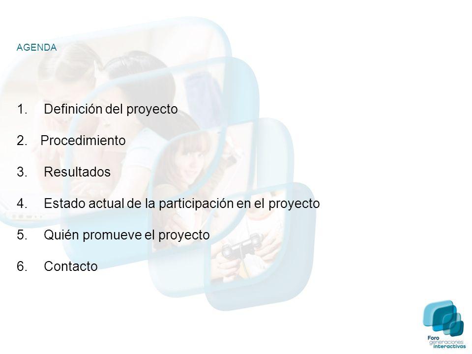 AGENDA 1. Definición del proyecto 2.Procedimiento 3. Resultados 4. Estado actual de la participación en el proyecto 5. Quién promueve el proyecto 6. C
