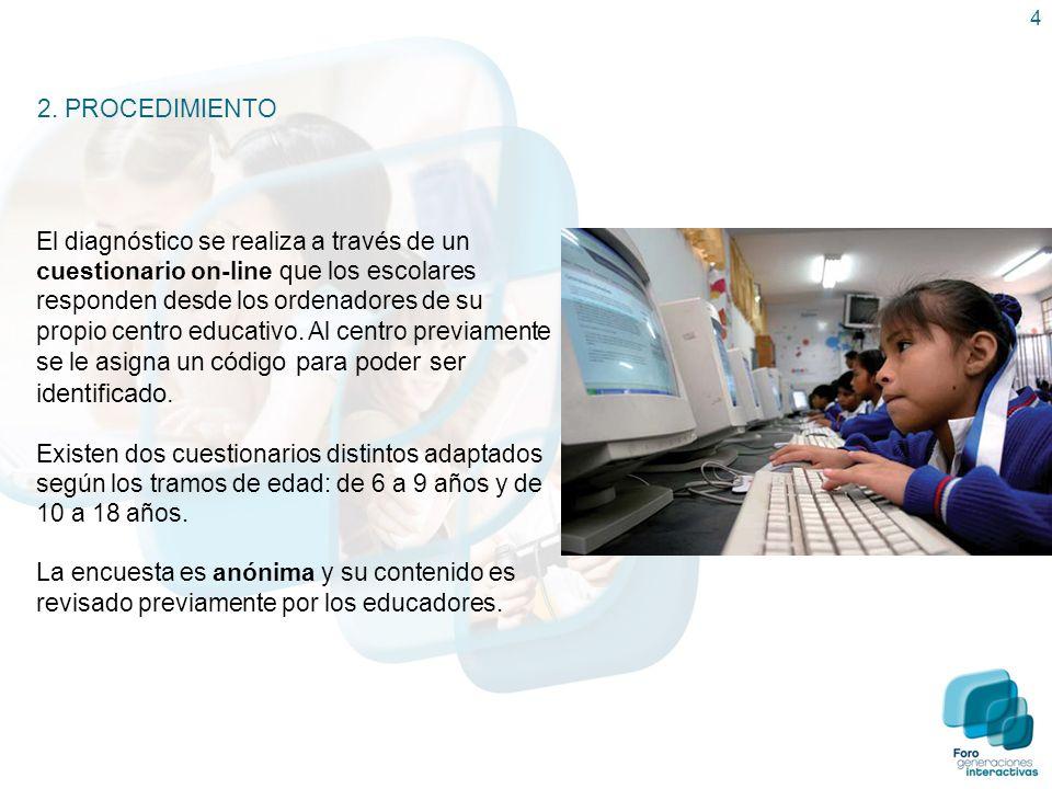 4 2. PROCEDIMIENTO El diagnóstico se realiza a través de un cuestionario on-line que los escolares responden desde los ordenadores de su propio centro