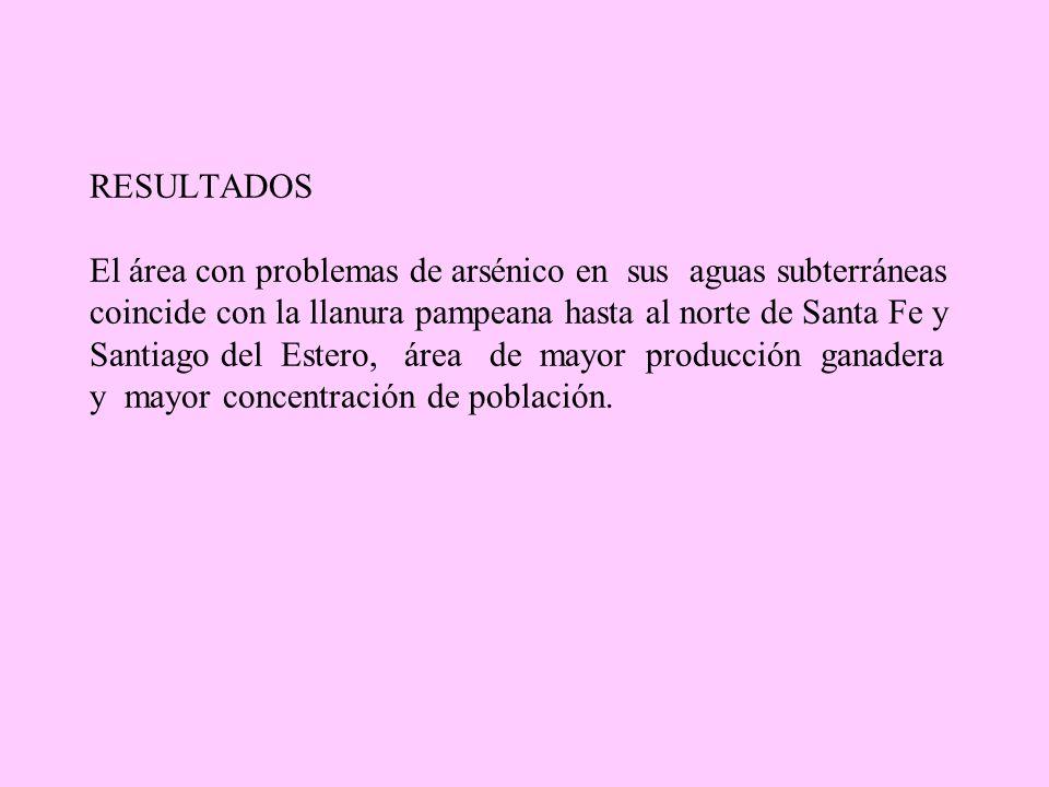 RESULTADOS El área con problemas de arsénico en sus aguas subterráneas coincide con la llanura pampeana hasta al norte de Santa Fe y Santiago del Este