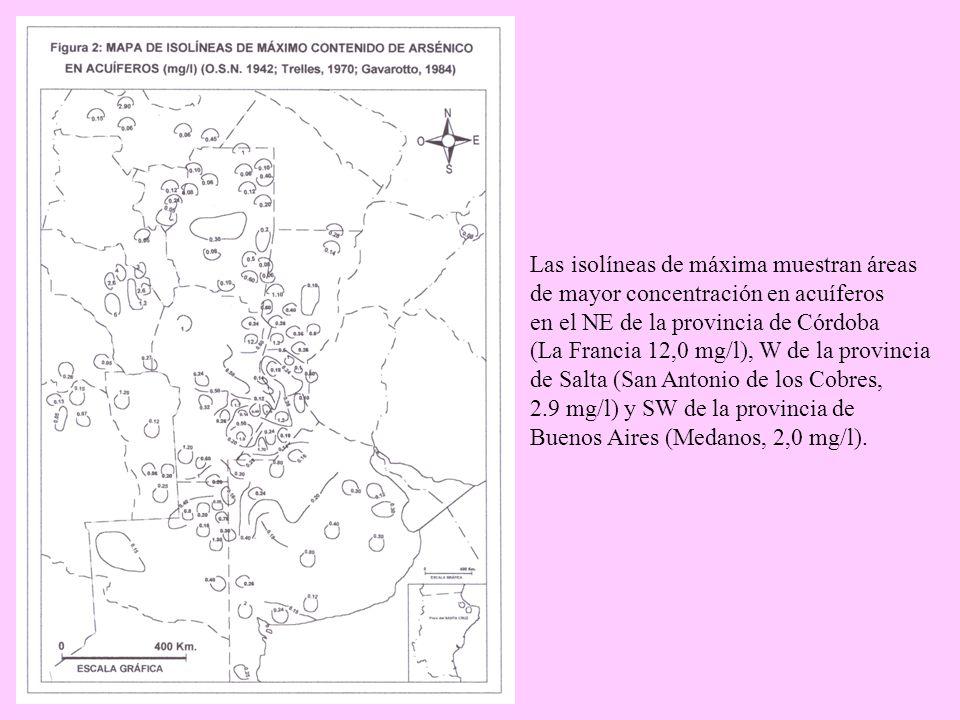 Las isolíneas de máxima muestran áreas de mayor concentración en acuíferos en el NE de la provincia de Córdoba (La Francia 12,0 mg/l), W de la provinc