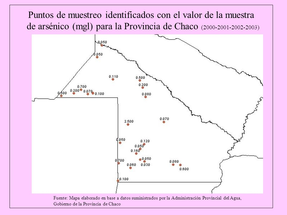 Fuente: Mapa elaborado en base a datos suministrados por la Administración Provincial del Agua, Gobierno de la Provincia de Chaco Puntos de muestreo i