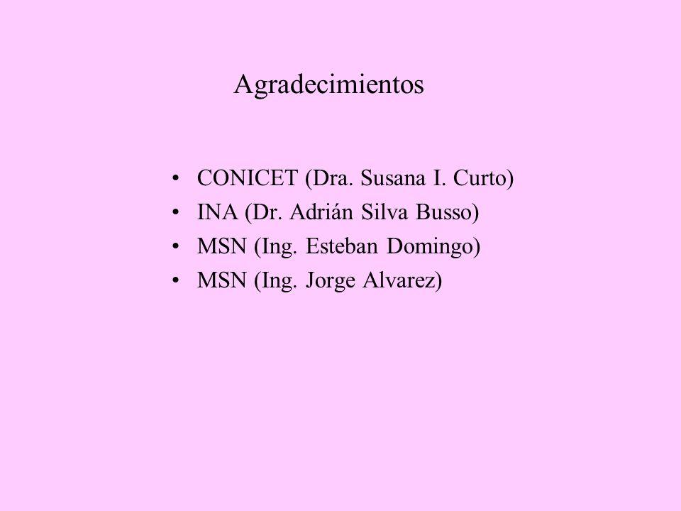 Agradecimientos CONICET (Dra. Susana I. Curto) INA (Dr. Adrián Silva Busso) MSN (Ing. Esteban Domingo) MSN (Ing. Jorge Alvarez)