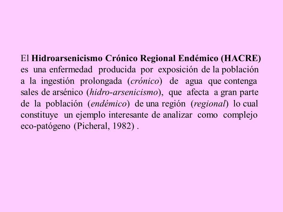 El Hidroarsenicismo Crónico Regional Endémico (HACRE) es una enfermedad producida por exposición de la población a la ingestión prolongada (crónico) d