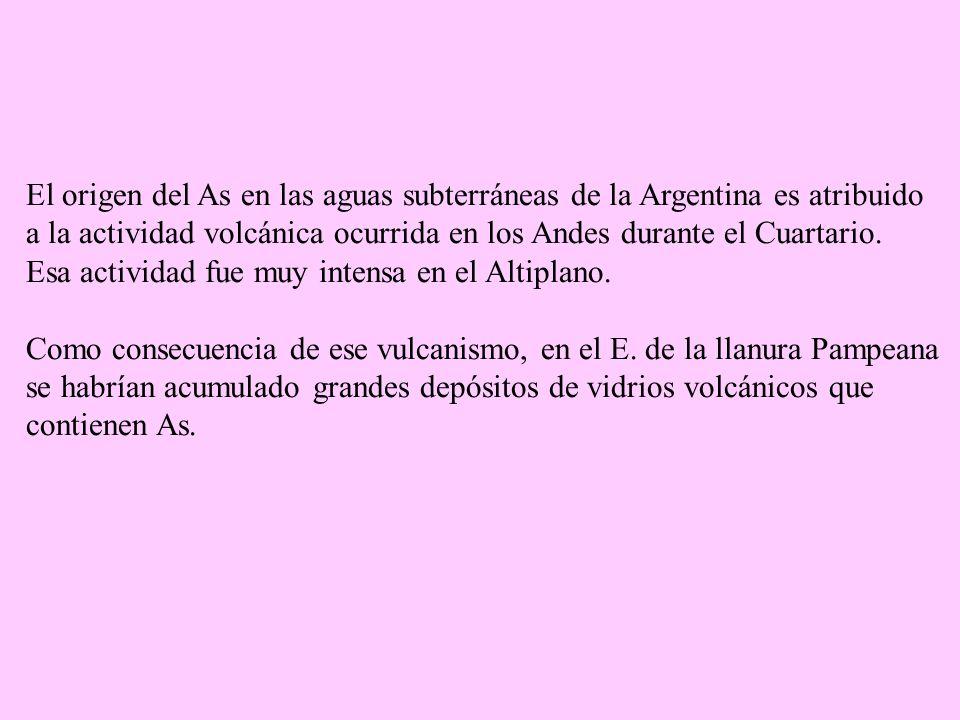 El origen del As en las aguas subterráneas de la Argentina es atribuido a la actividad volcánica ocurrida en los Andes durante el Cuartario. Esa activ