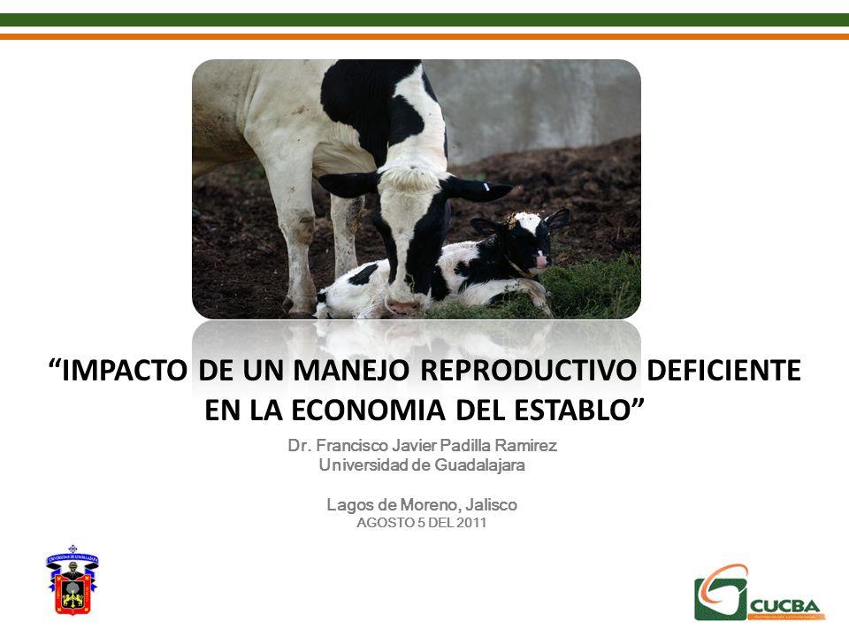IMPACTO DE UN MANEJO REPRODUCTIVO DEFICIENTE EN LA ECONOMIA DEL ESTABLO Dr. Francisco Javier Padilla Ramirez Universidad de Guadalajara Lagos de Moren