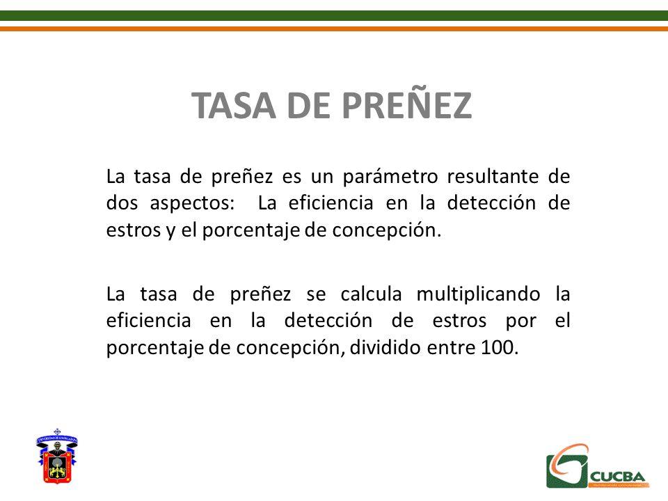 TASA DE PREÑEZ La tasa de preñez es un parámetro resultante de dos aspectos: La eficiencia en la detección de estros y el porcentaje de concepción. La