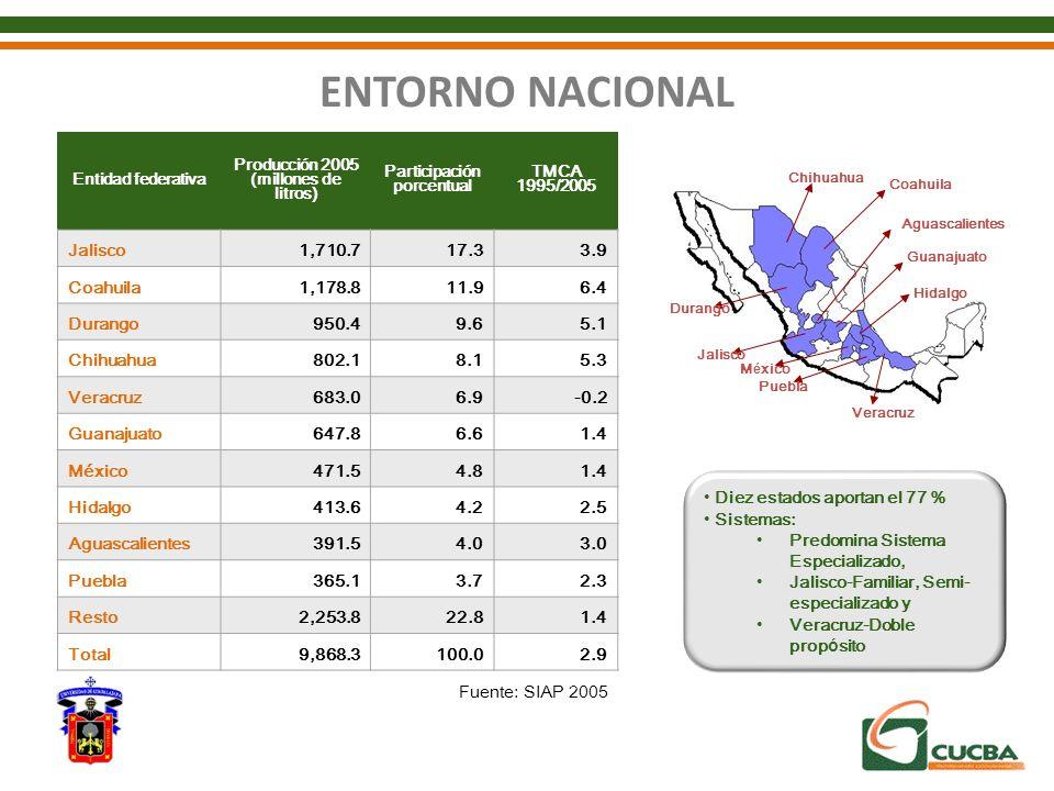 ENTORNO NACIONAL Chihuahua Coahuila Aguascalientes Guanajuato Hidalgo Durango Jalisco México Puebla Veracruz Entidad federativa Producción 2005 (millo