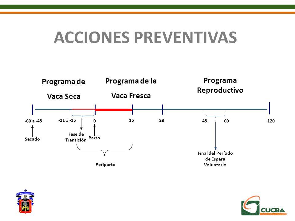Programa de Vaca Seca Parto Final del Período de Espera Voluntario Programa de la Vaca Fresca Programa Reproductivo 28 0-60 a -45 Fase de Transición 4