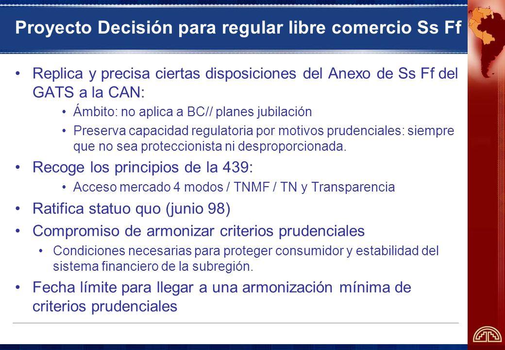Proyecto Decisión para regular libre comercio Ss Ff Replica y precisa ciertas disposiciones del Anexo de Ss Ff del GATS a la CAN: Ámbito: no aplica a BC// planes jubilación Preserva capacidad regulatoria por motivos prudenciales: siempre que no sea proteccionista ni desproporcionada.