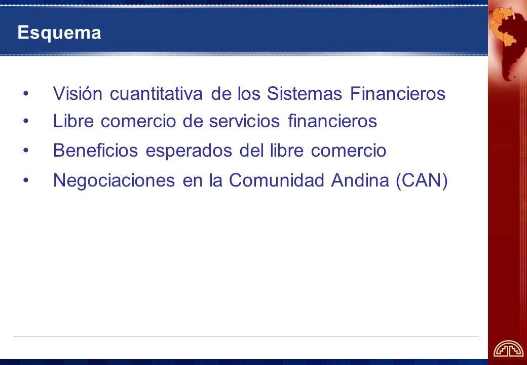 Esquema Visión cuantitativa de los Sistemas Financieros Libre comercio de servicios financieros Beneficios esperados del libre comercio Negociaciones en la Comunidad Andina (CAN)