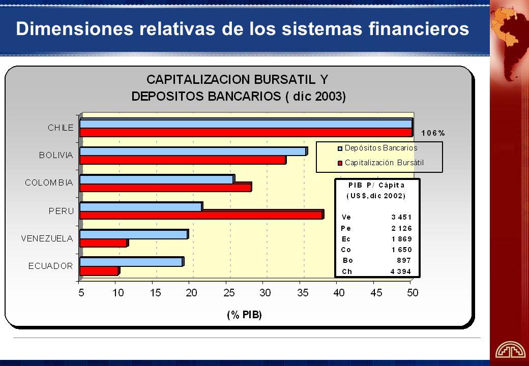 Dimensiones relativas de los sistemas financieros