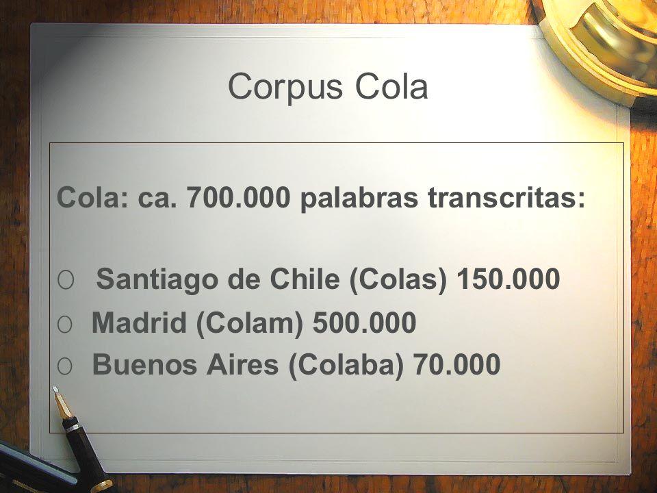 Corpus Cola Cola: ca. 700.000 palabras transcritas: O Santiago de Chile (Colas) 150.000 O Madrid (Colam) 500.000 O Buenos Aires (Colaba) 70.000