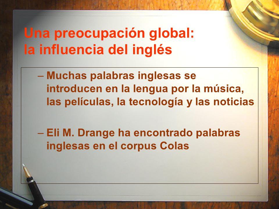 Una preocupación global: la influencia del inglés –Muchas palabras inglesas se introducen en la lengua por la música, las películas, la tecnología y l