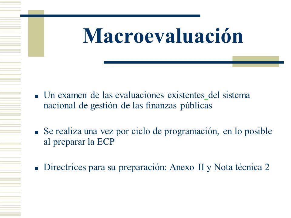 Macroevaluación Un examen de las evaluaciones existentes del sistema nacional de gestión de las finanzas públicas Se realiza una vez por ciclo de prog