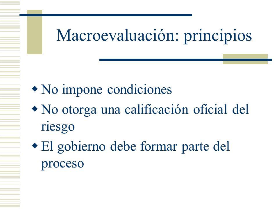 Macroevaluación: principios No impone condiciones No otorga una calificación oficial del riesgo El gobierno debe formar parte del proceso