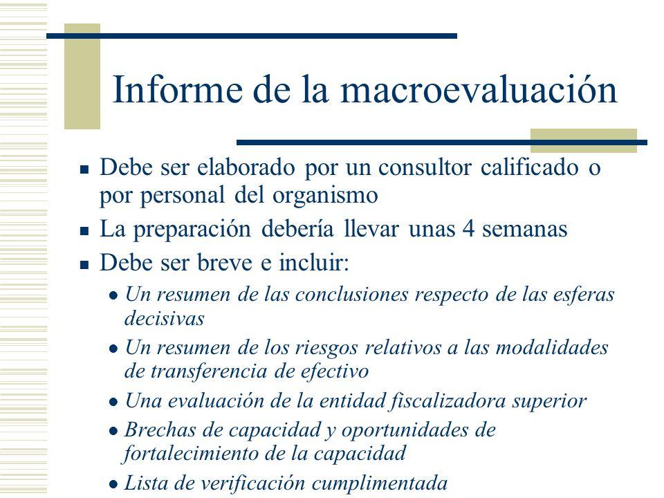 Informe de la macroevaluación Debe ser elaborado por un consultor calificado o por personal del organismo La preparación debería llevar unas 4 semanas