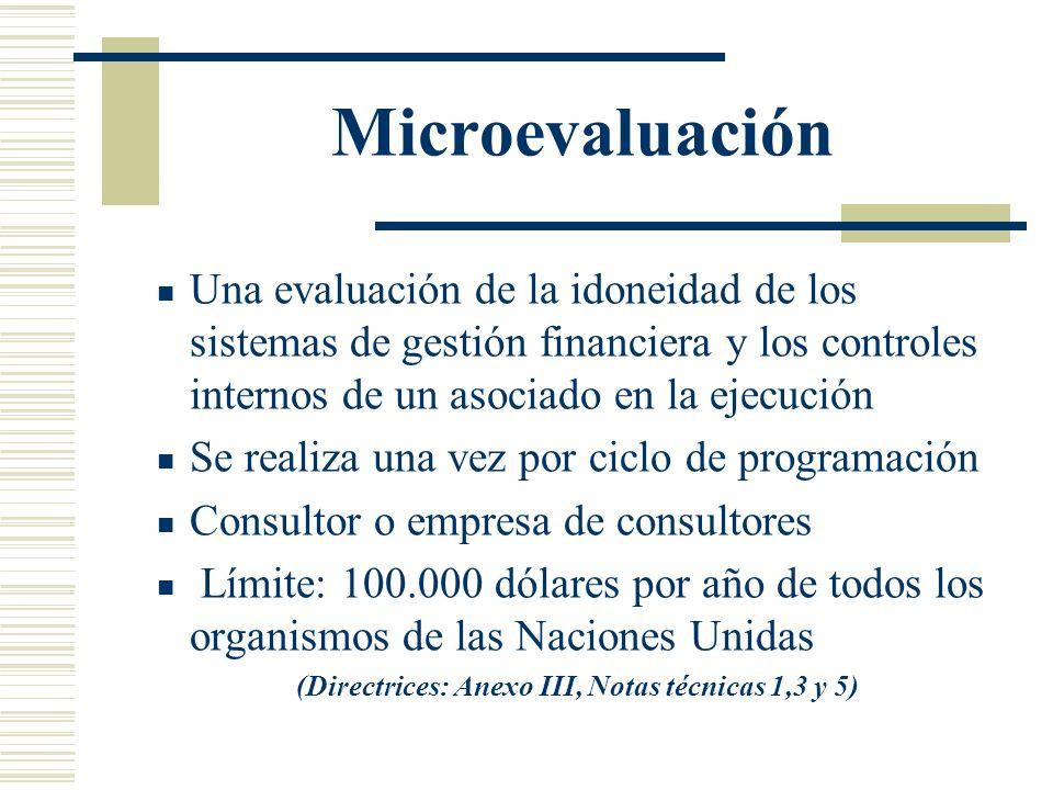Microevaluación Una evaluación de la idoneidad de los sistemas de gestión financiera y los controles internos de un asociado en la ejecución Se realiz