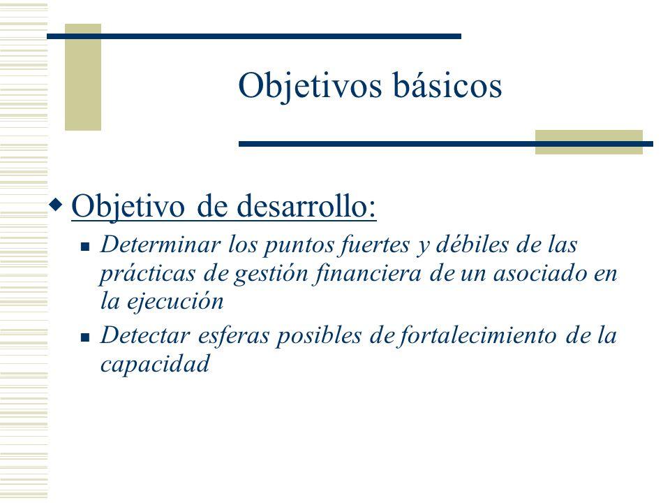 Objetivos básicos Objetivo de desarrollo: Determinar los puntos fuertes y débiles de las prácticas de gestión financiera de un asociado en la ejecució