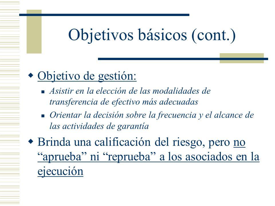 Objetivos básicos (cont.) Objetivo de gestión: Asistir en la elección de las modalidades de transferencia de efectivo más adecuadas Orientar la decisi