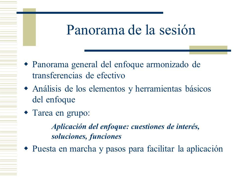 Panorama de la sesión Panorama general del enfoque armonizado de transferencias de efectivo Análisis de los elementos y herramientas básicos del enfoq