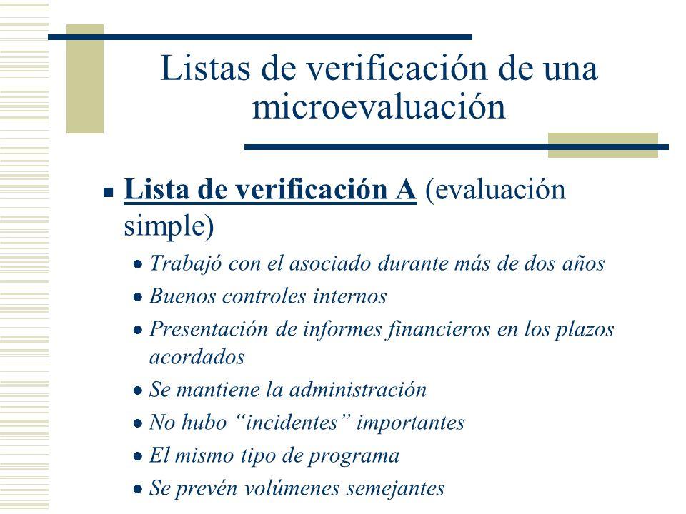 Listas de verificación de una microevaluación Lista de verificación A (evaluación simple) Trabajó con el asociado durante más de dos años Buenos contr