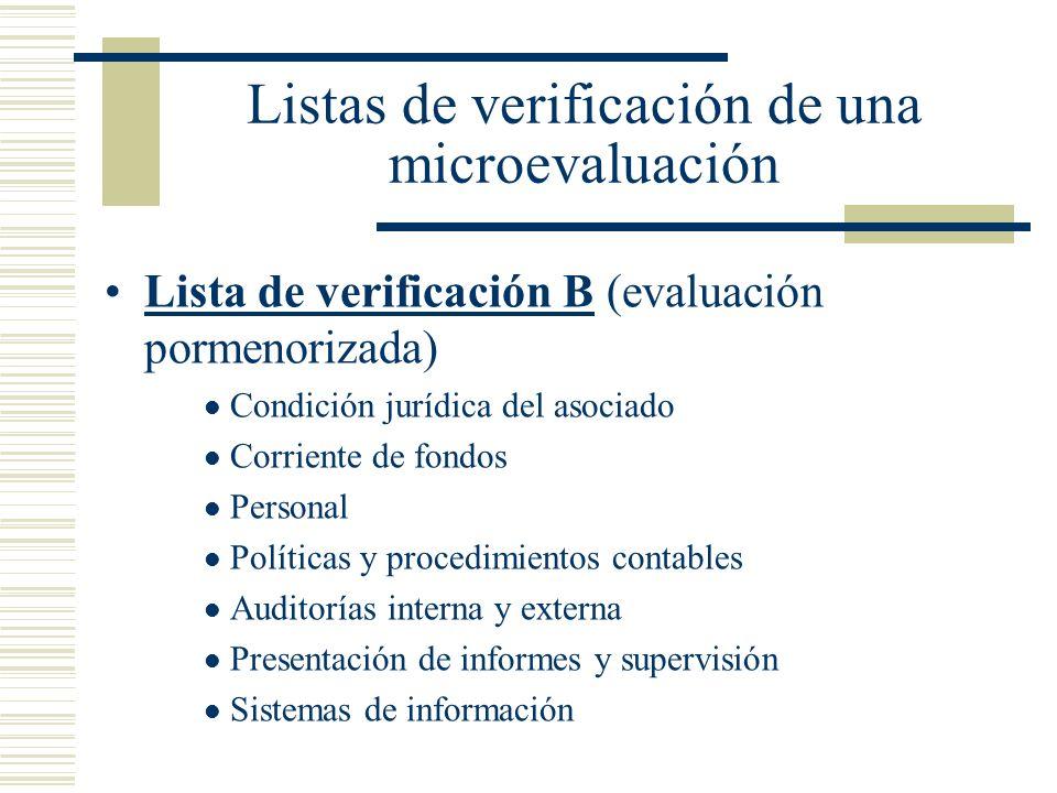 Listas de verificación de una microevaluación Lista de verificación B (evaluación pormenorizada) Condición jurídica del asociado Corriente de fondos P