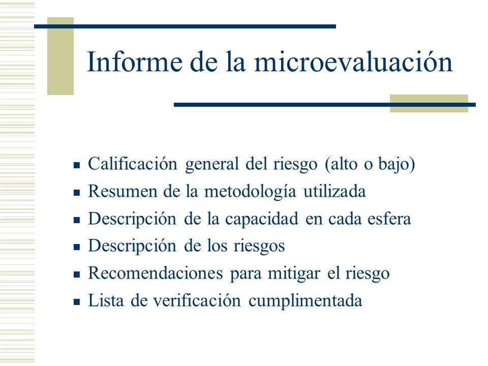 Informe de la microevaluación Calificación general del riesgo (alto o bajo) Resumen de la metodología utilizada Descripción de la capacidad en cada es