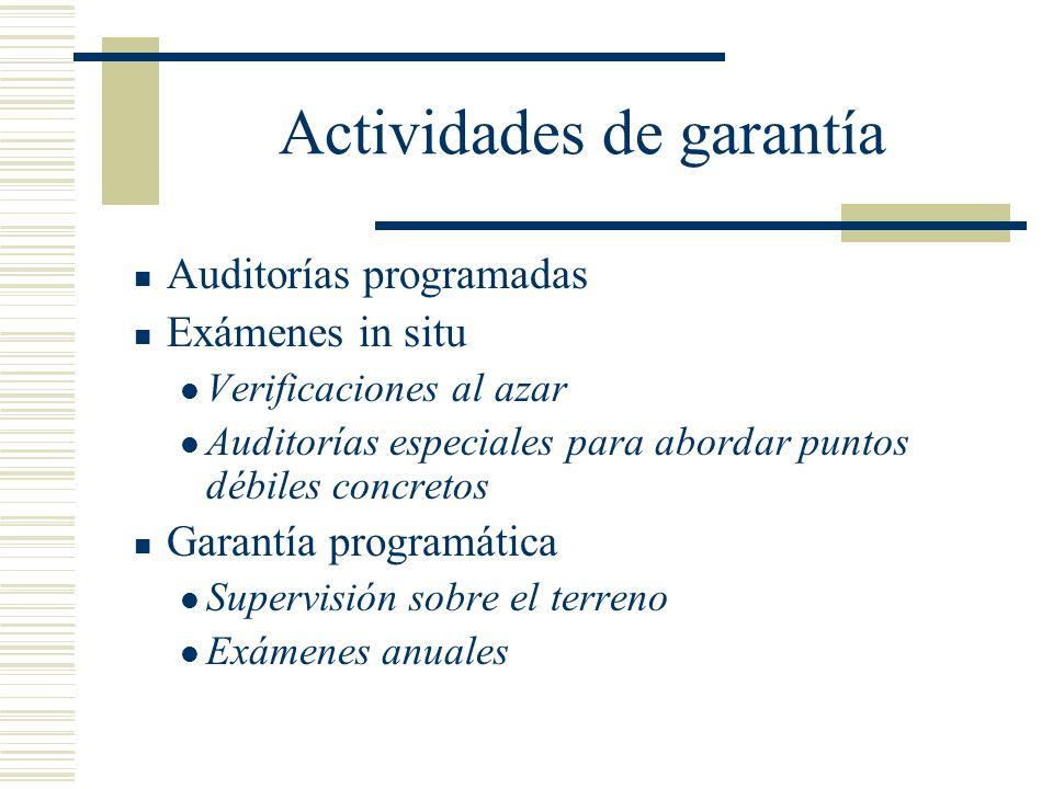 Actividades de garantía Auditorías programadas Exámenes in situ Verificaciones al azar Auditorías especiales para abordar puntos débiles concretos Gar