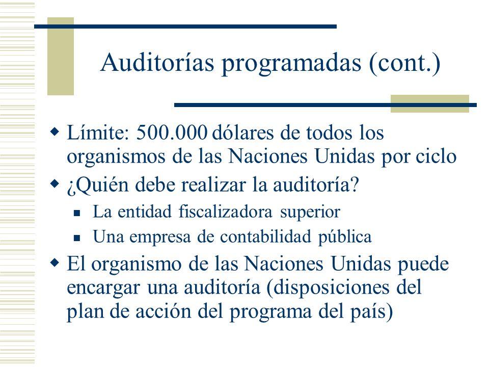 Auditorías programadas (cont.) Límite: 500.000 dólares de todos los organismos de las Naciones Unidas por ciclo ¿Quién debe realizar la auditoría? La