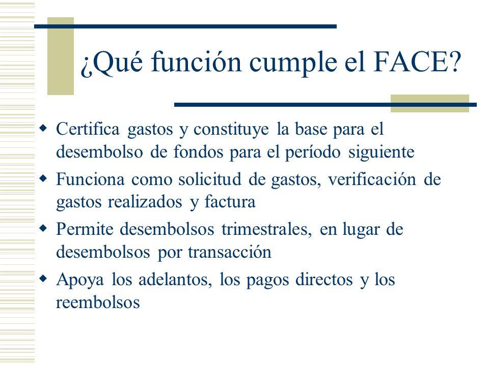 ¿Qué función cumple el FACE? Certifica gastos y constituye la base para el desembolso de fondos para el período siguiente Funciona como solicitud de g