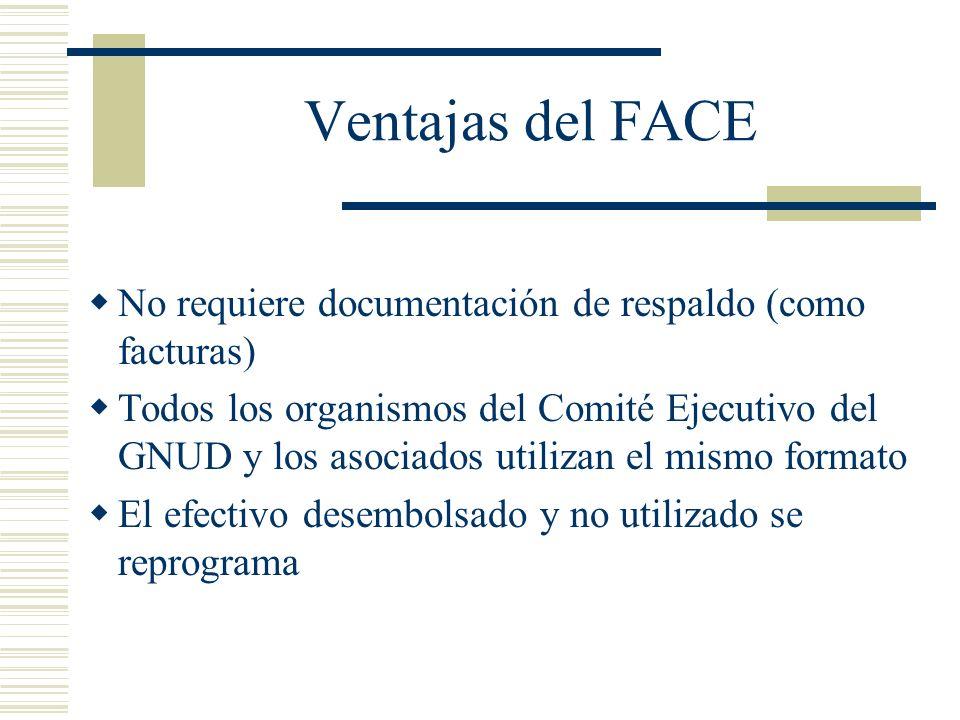 Ventajas del FACE No requiere documentación de respaldo (como facturas) Todos los organismos del Comité Ejecutivo del GNUD y los asociados utilizan el