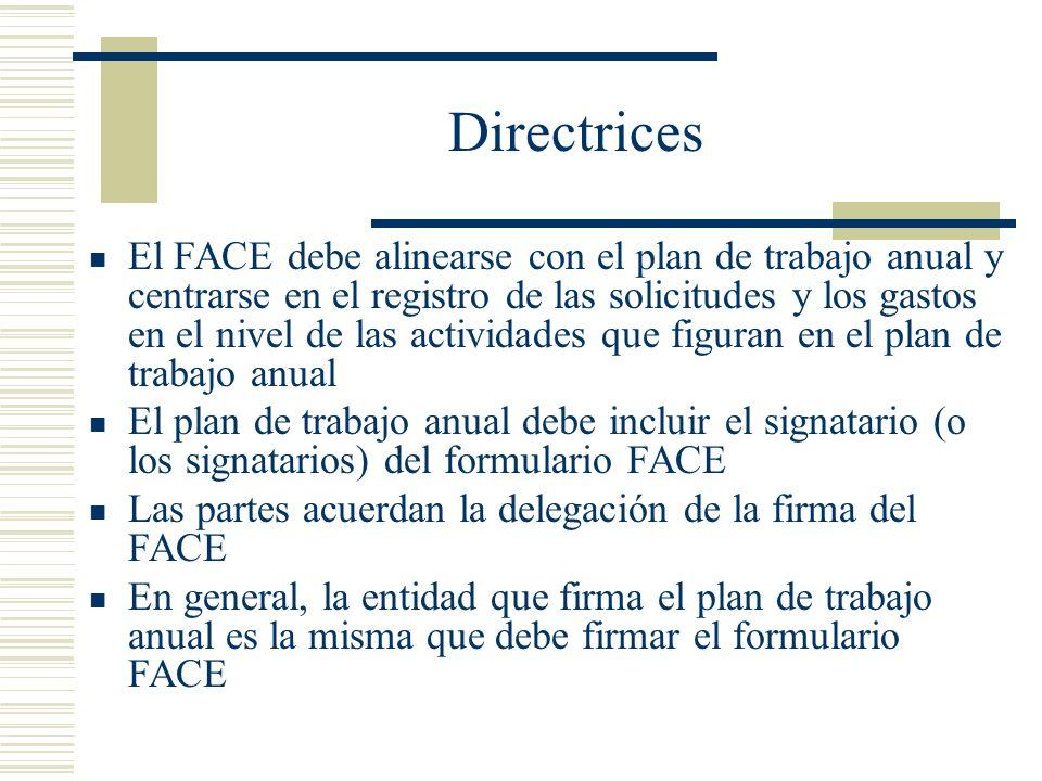 Directrices El FACE debe alinearse con el plan de trabajo anual y centrarse en el registro de las solicitudes y los gastos en el nivel de las activida
