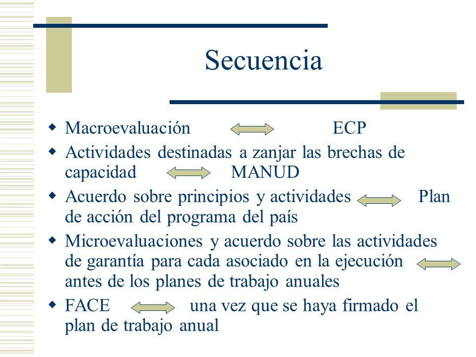 Secuencia Macroevaluación ECP Actividades destinadas a zanjar las brechas de capacidad MANUD Acuerdo sobre principios y actividades Plan de acción del