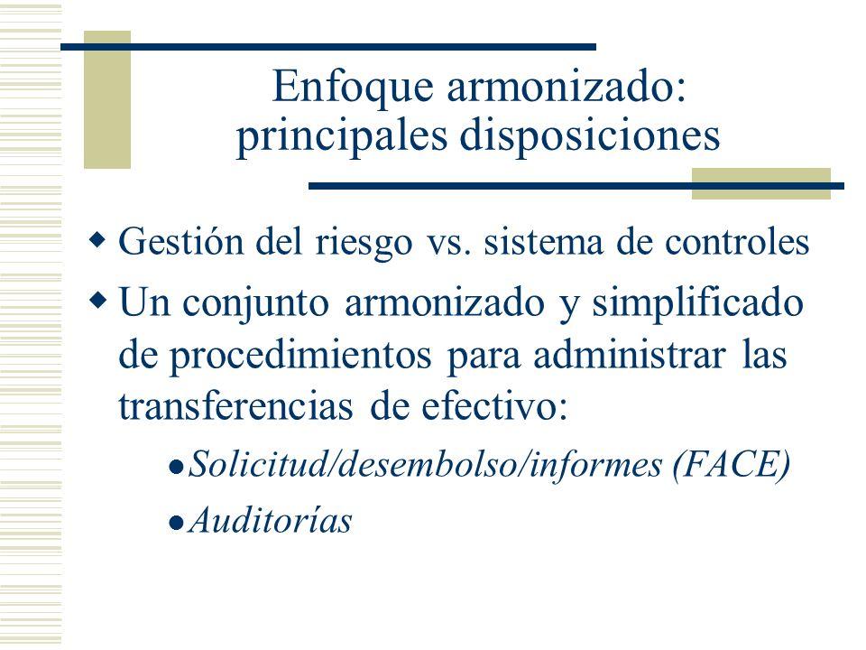 Enfoque armonizado: principales disposiciones Gestión del riesgo vs. sistema de controles Un conjunto armonizado y simplificado de procedimientos para