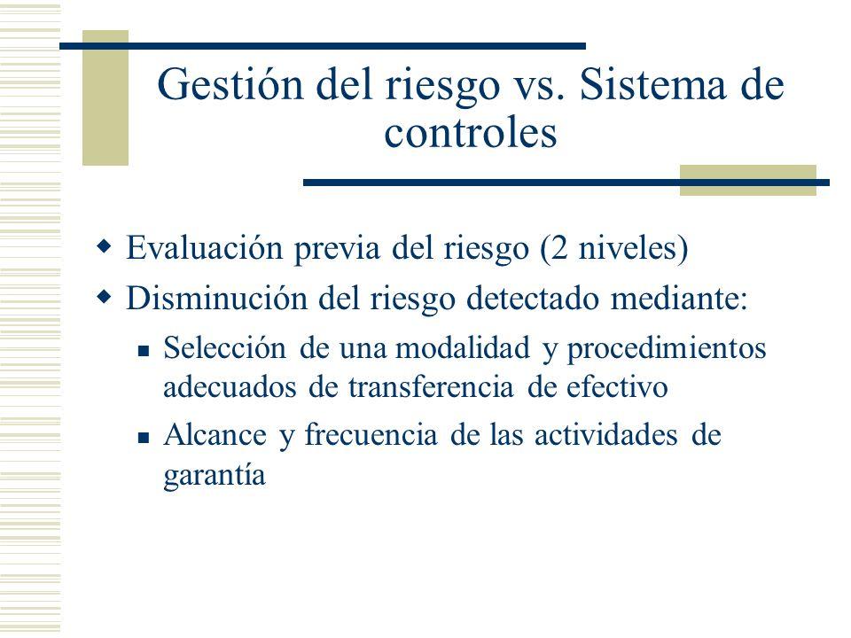 Gestión del riesgo vs. Sistema de controles Evaluación previa del riesgo (2 niveles) Disminución del riesgo detectado mediante: Selección de una modal