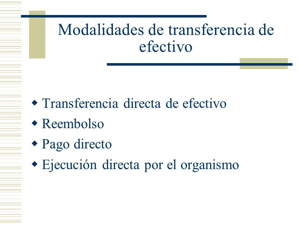 Modalidades de transferencia de efectivo Transferencia directa de efectivo Reembolso Pago directo Ejecución directa por el organismo
