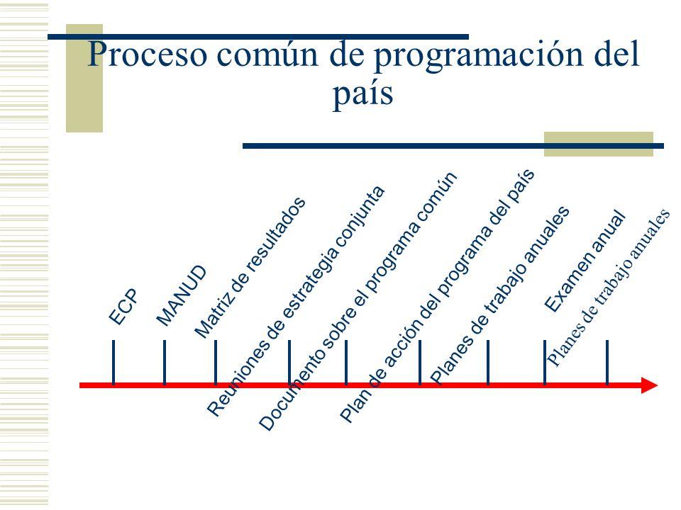 ECP Planes de trabajo anualesMANUD Matriz de resultados Reuniones de estrategia conjuntaDocumento sobre el programa común Plan de acción del programa