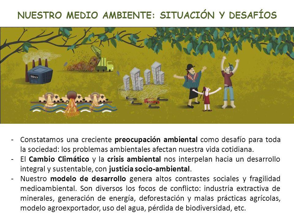 NUESTRO MEDIO AMBIENTE: SITUACIÓN Y DESAFÍOS -Constatamos una creciente preocupación ambiental como desafío para toda la sociedad: los problemas ambie