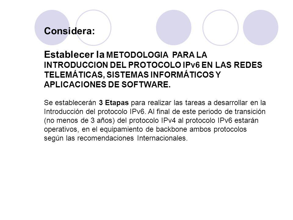 Considera: Establecer la METODOLOGIA PARA LA INTRODUCCION DEL PROTOCOLO IPv6 EN LAS REDES TELEMÁTICAS, SISTEMAS INFORMÁTICOS Y APLICACIONES DE SOFTWAR