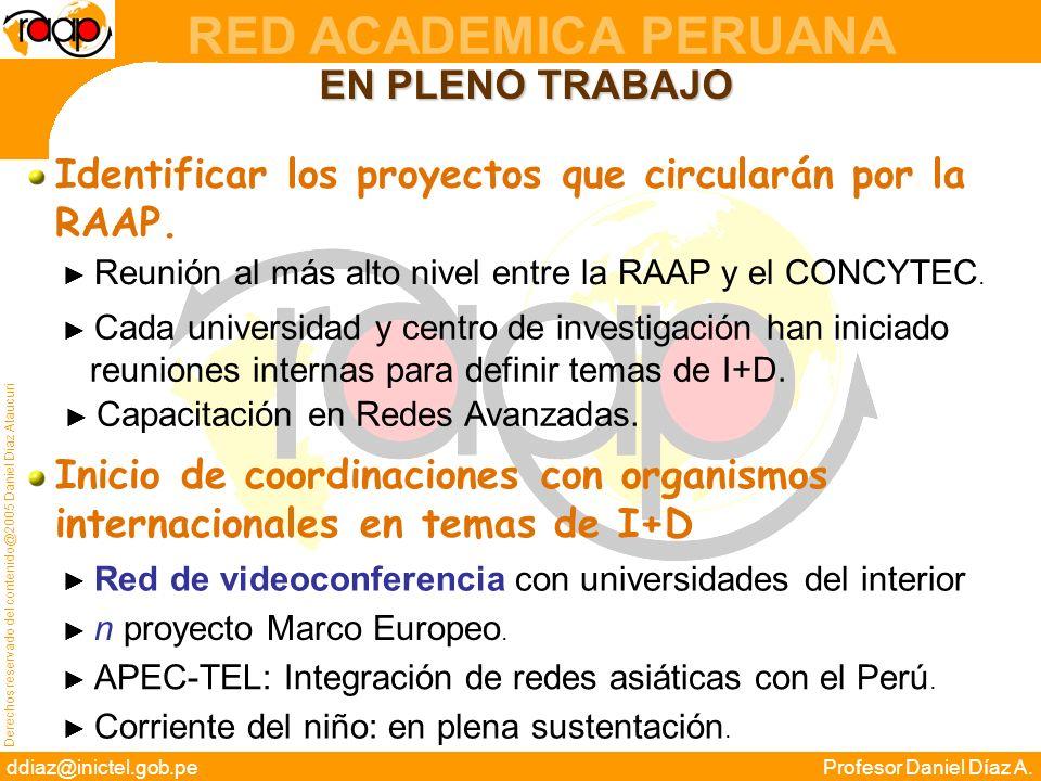 Derechos reservado del contenido@2005 Daniel Díaz Ataucuri ddiaz@inictel.gob.peProfesor Daniel Díaz A. RED ACADEMICA PERUANA EN PLENO TRABAJO Identifi