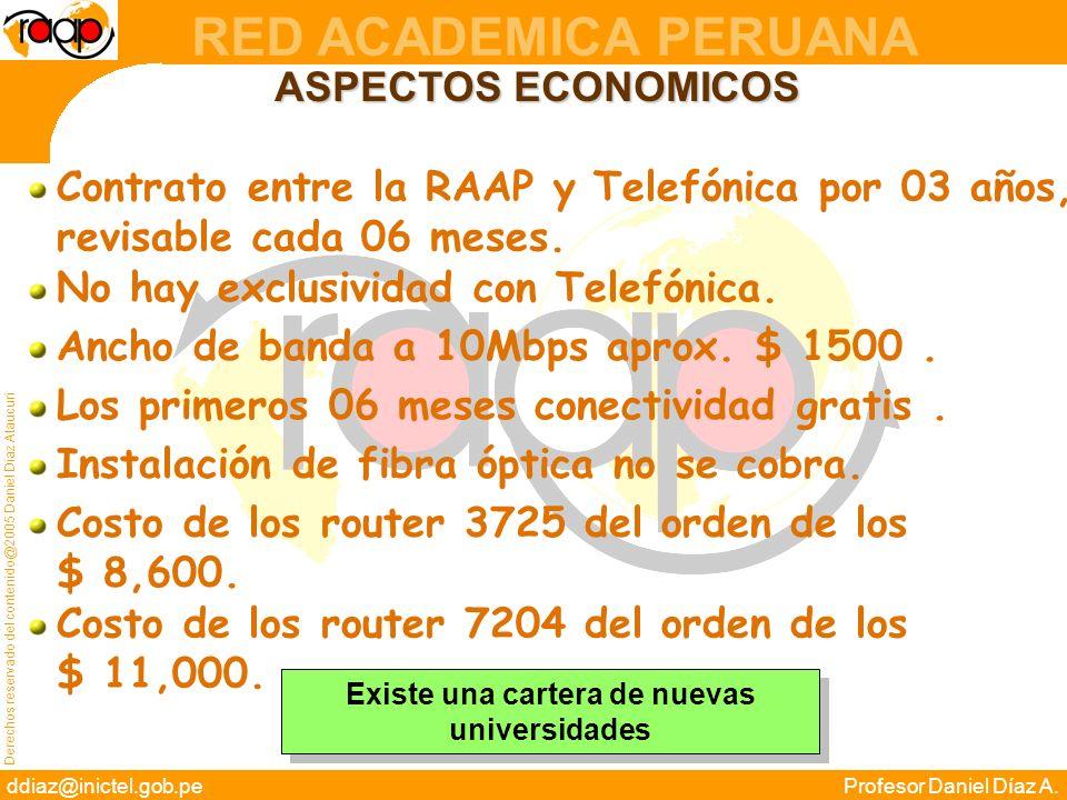Derechos reservado del contenido@2005 Daniel Díaz Ataucuri ddiaz@inictel.gob.peProfesor Daniel Díaz A. RED ACADEMICA PERUANA ASPECTOS ECONOMICOS Contr