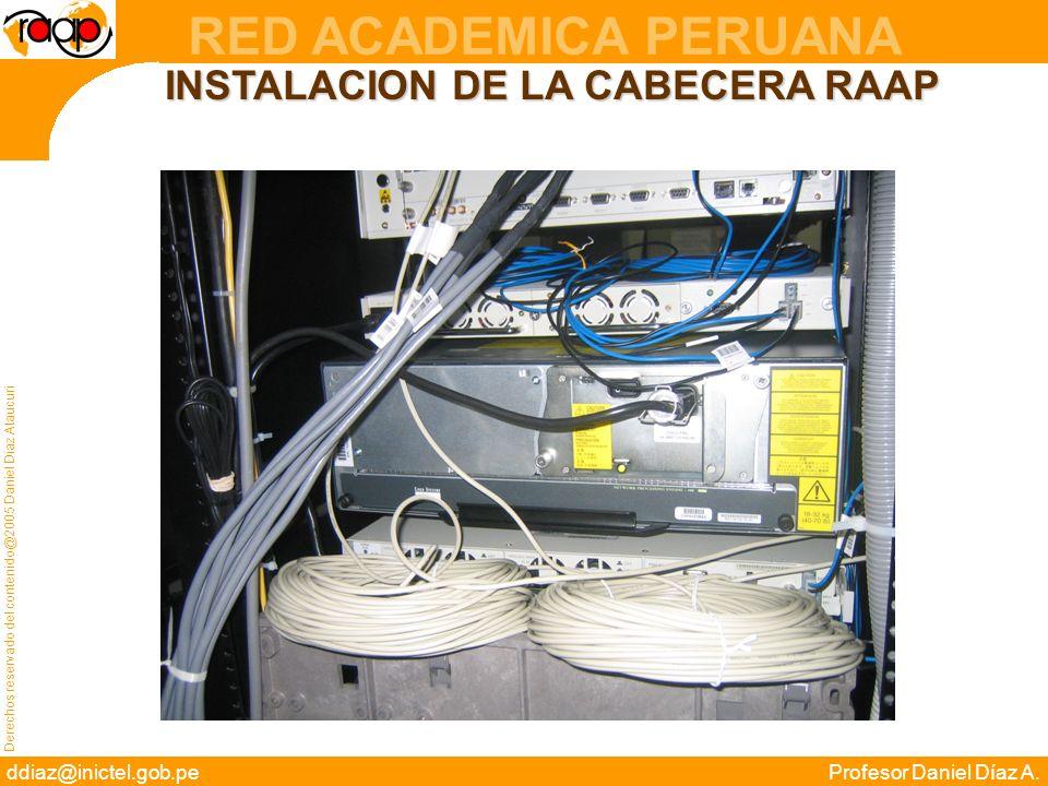 Derechos reservado del contenido@2005 Daniel Díaz Ataucuri ddiaz@inictel.gob.peProfesor Daniel Díaz A. RED ACADEMICA PERUANA INSTALACION DE LA CABECER