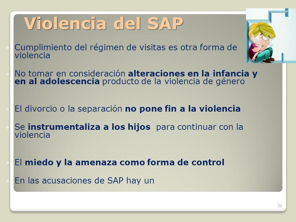 Cumplimiento del régimen de visitas es otra forma de violencia No tomar en consideración alteraciones en la infancia y en al adolescencia producto de