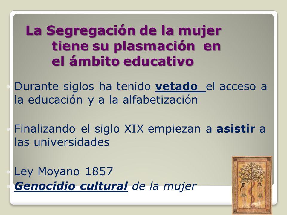 La Segregación de la mujer tiene su plasmación en el ámbito educativo Durante siglos ha tenido vetado el acceso a la educación y a la alfabetización F
