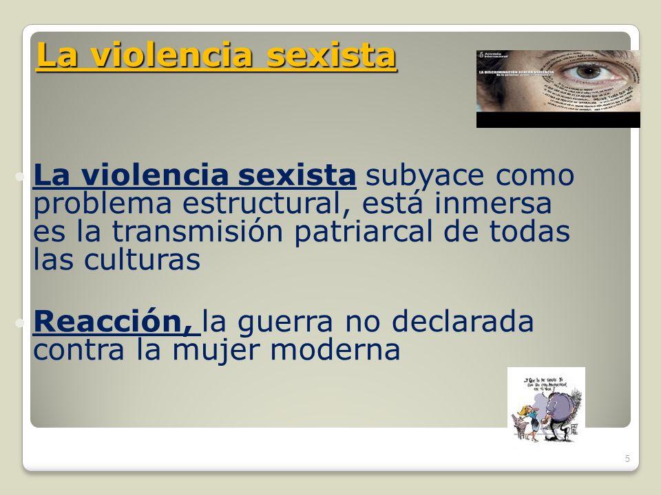 La violencia sexista subyace como problema estructural, está inmersa es la transmisión patriarcal de todas las culturas Reacción, la guerra no declara