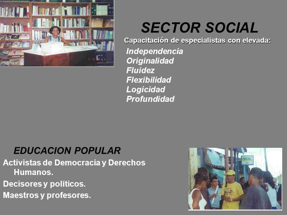 Capacitación de especialistas con elevada: SECTOR SOCIAL Capacitación de especialistas con elevada: EDUCACION POPULAR Activistas de Democracia y Derec