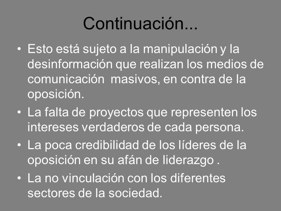 Continuación... Esto está sujeto a la manipulación y la desinformación que realizan los medios de comunicación masivos, en contra de la oposición. La