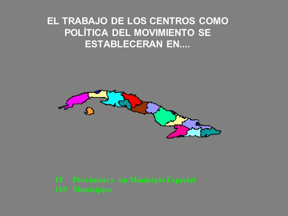 EL TRABAJO DE LOS CENTROS COMO POLÍTICA DEL MOVIMIENTO SE ESTABLECERAN EN.... 15 Provincias y un Municipio Especial 169 Municipios