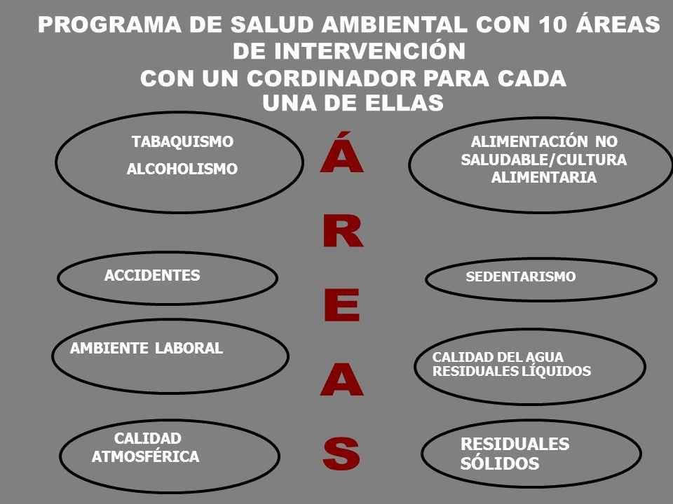 ACCIDENTES AMBIENTE LABORAL CALIDAD ATMOSFÉRICA ALIMENTACIÓN NO SALUDABLE/CULTURA ALIMENTARIA SEDENTARISMO CALIDAD DEL AGUA RESIDUALES LÍQUIDOS RESIDU
