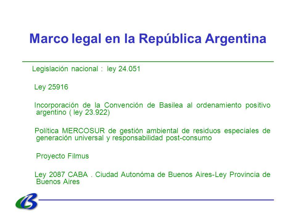 Marco legal en la República Argentina Legislación nacional : ley 24.051 Ley 25916 Incorporación de la Convención de Basilea al ordenamiento positivo argentino ( ley 23.922) Política MERCOSUR de gestión ambiental de residuos especiales de generación universal y responsabilidad post-consumo Proyecto Filmus Ley 2087 CABA.